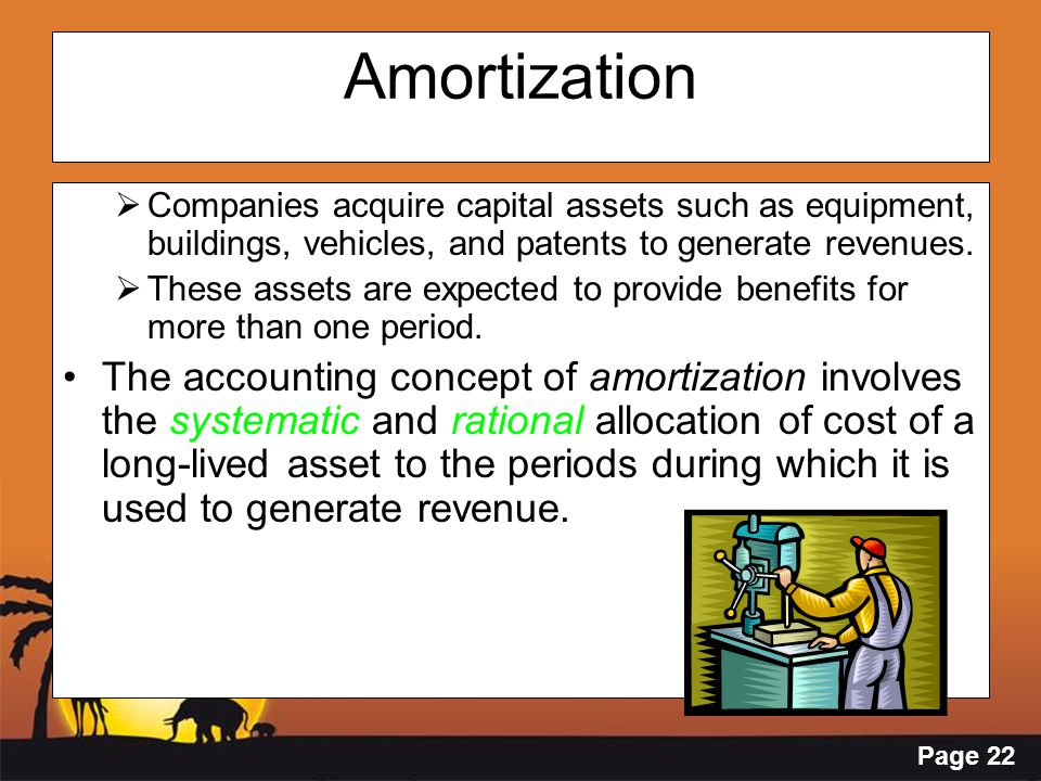 Amortization Companies acquire capital assets such as equipment, buildings, vehicles, and patents to generate revenues.