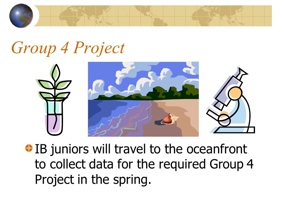Group 4 Project IB juniors will travel to the oceanfront to collect data for the required Group 4 Project in the spring.