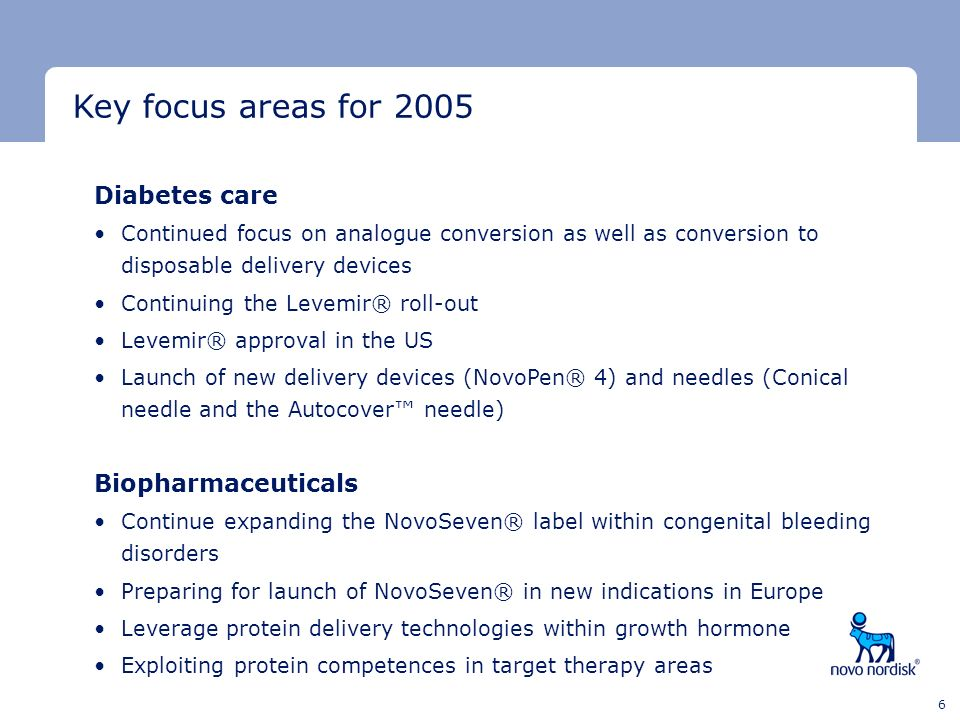 Key focus areas for 2005 Diabetes care Biopharmaceuticals