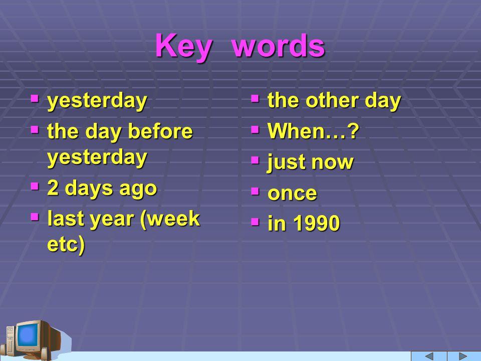 Past perfect keywords