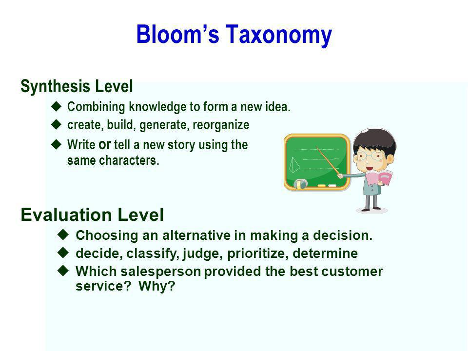 Bloom's Taxonomy Synthesis Level Evaluation Level