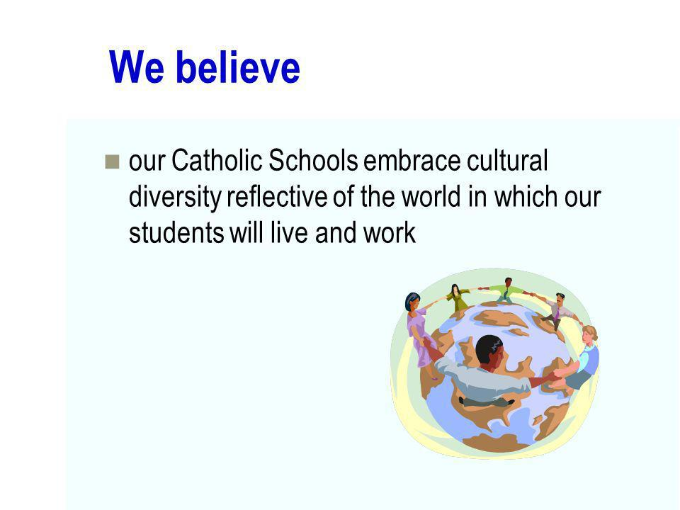 We believe our Catholic Schools embrace cultural diversity reflective of the world in which our students will live and work.