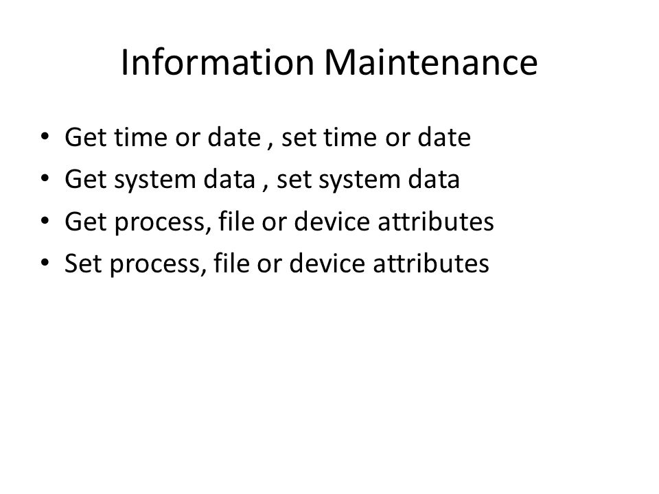 Information Maintenance