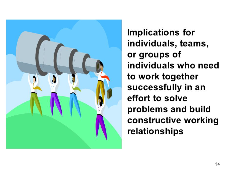 Implications for individuals, teams, or groups of individuals who need to work together successfully in an effort to solve problems and build constructive working relationships
