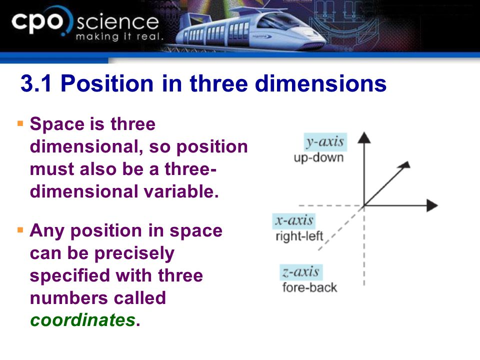3.1 Position in three dimensions