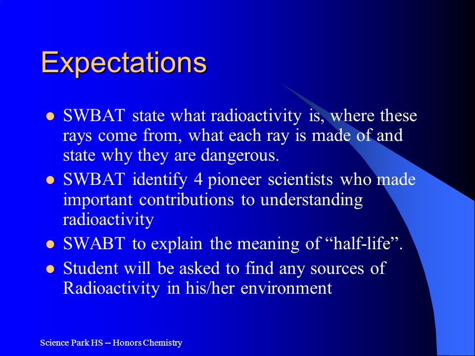 Expectations SWBAT state what radioactivity is, where these rays come from, what each ray is made of and state why they are dangerous.