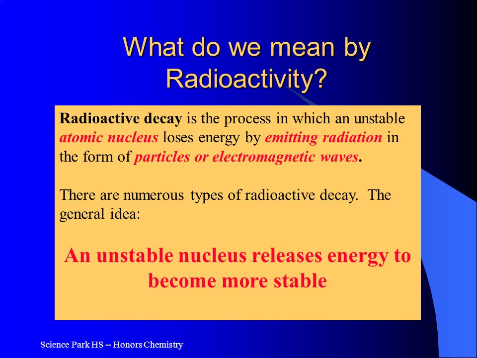 What do we mean by Radioactivity