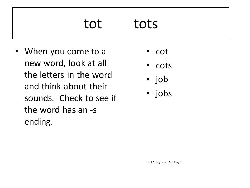 tot tots When you come to a new word, look at all the letters in the word and think about their sounds. Check to see if the word has an -s ending.