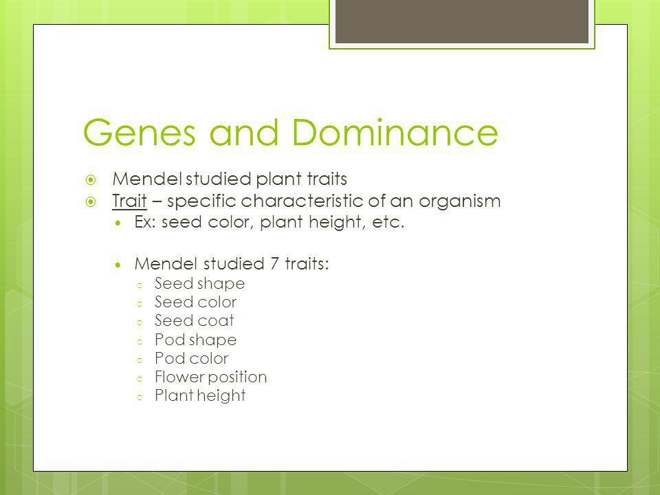Genes and Dominance Mendel studied plant traits