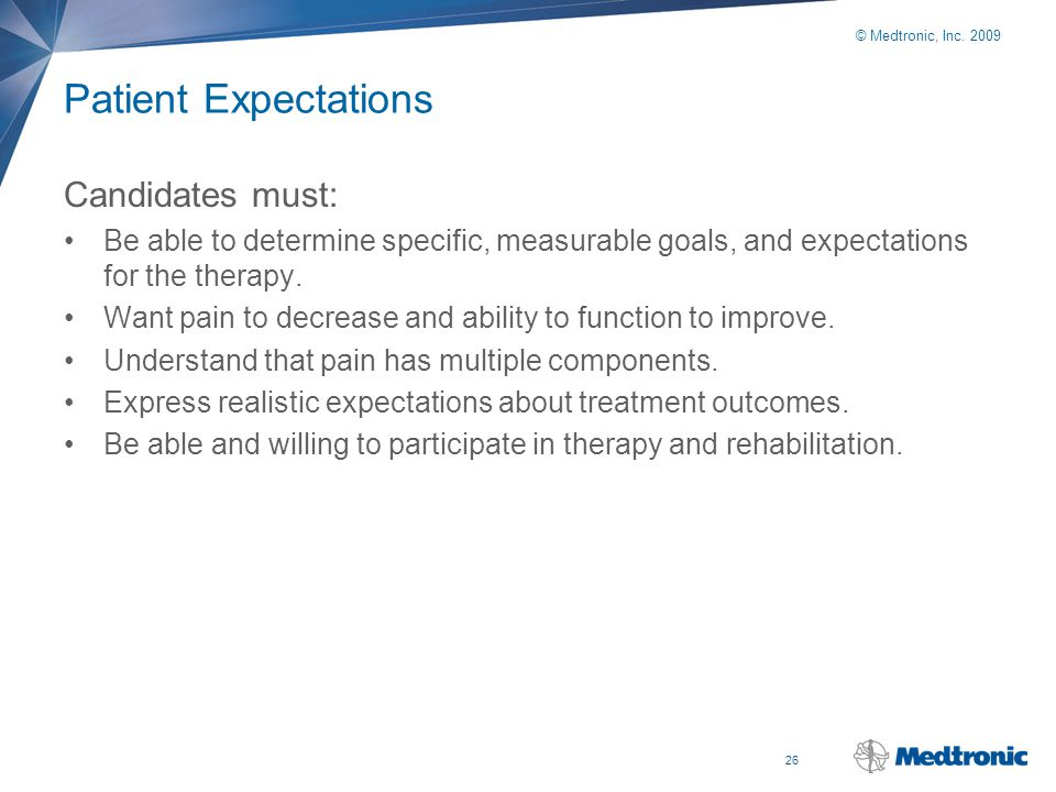 Patient Expectations Candidates must:
