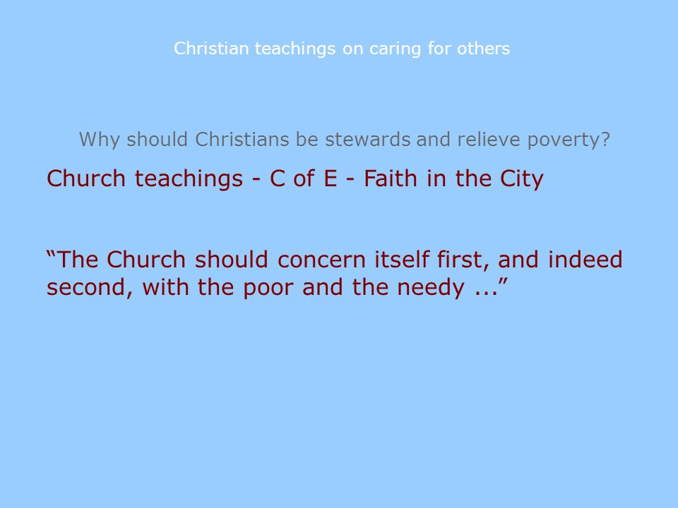 Church teachings - C of E - Faith in the City