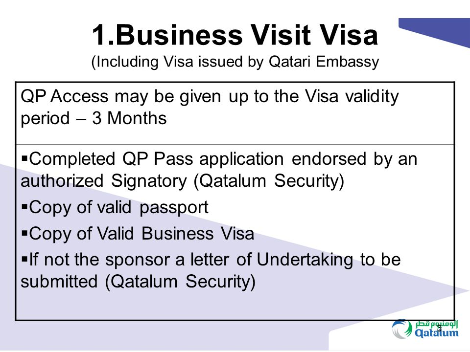 1.Business Visit Visa (Including Visa issued by Qatari Embassy