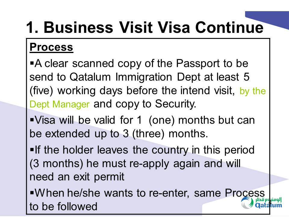 1. Business Visit Visa Continue