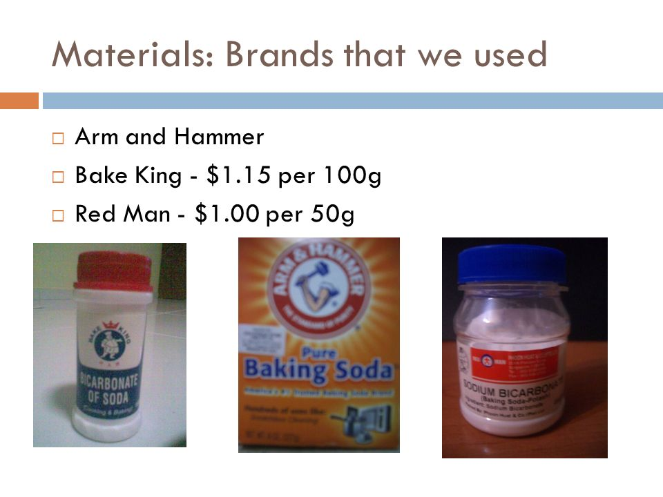 Materials: Brands that we used