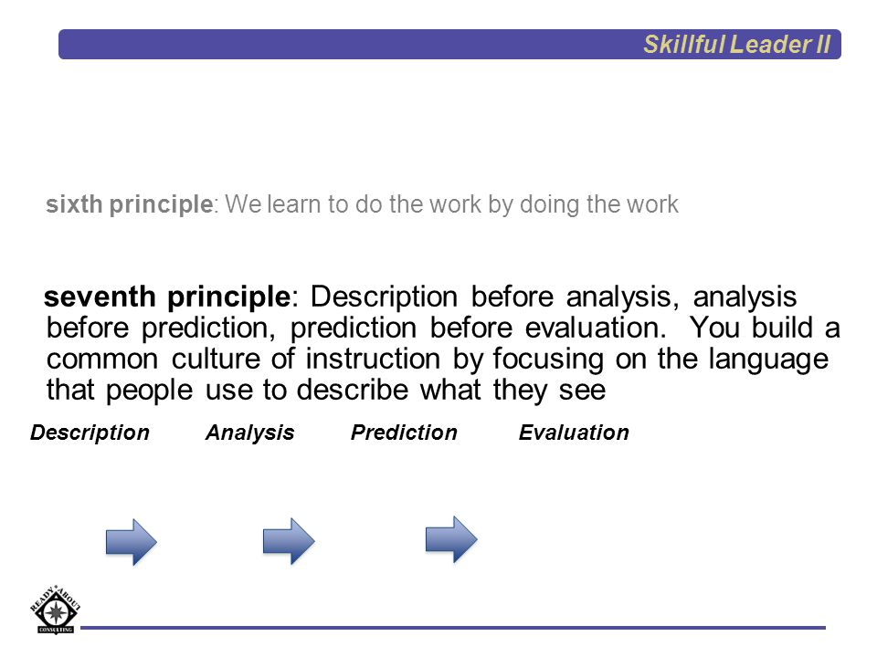 sixth principle: We learn to do the work by doing the work