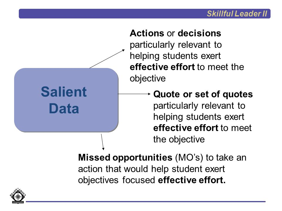 Skillful Leader II Actions or decisions particularly relevant to helping students exert effective effort to meet the objective.