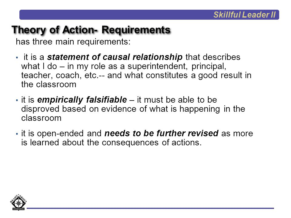 Theory of Action- Requirements