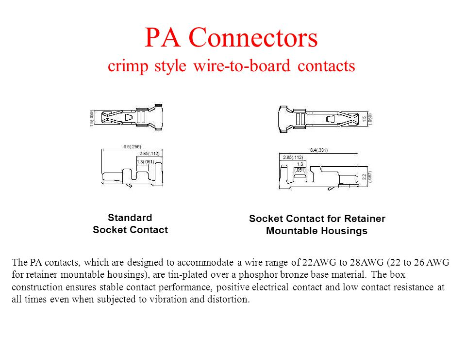PA Connectors crimp style wire-to-board contacts