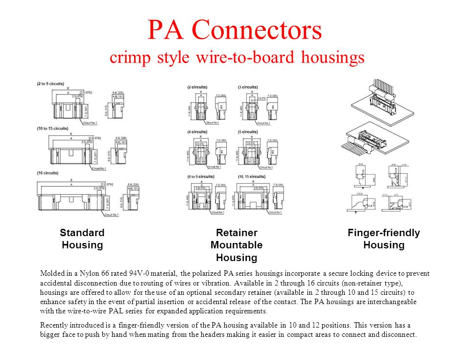 PA Connectors crimp style wire-to-board housings