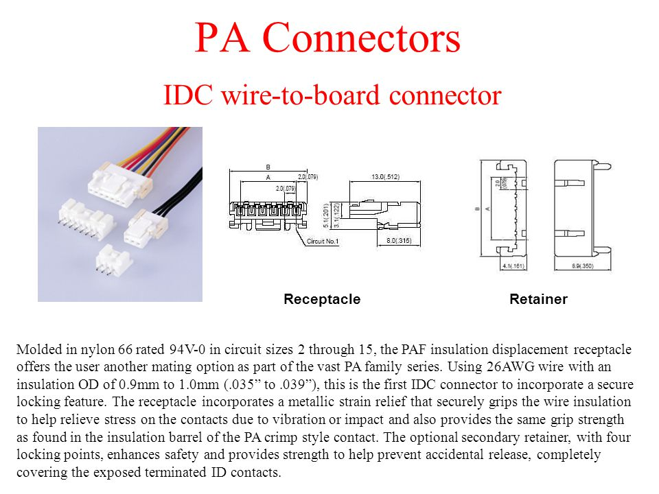 PA Connectors IDC wire-to-board connector