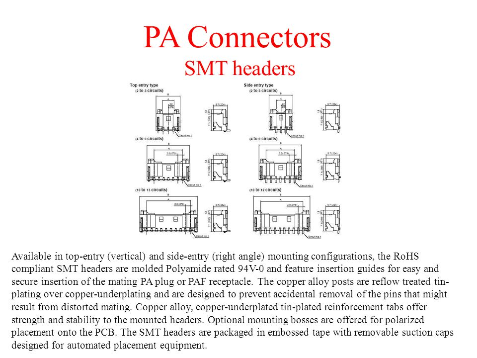 PA Connectors SMT headers
