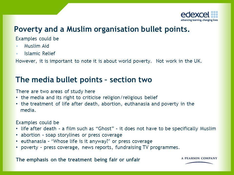 Poverty and a Muslim organisation bullet points.