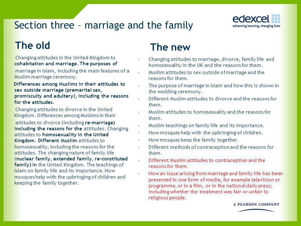 Section three – marriage and the family