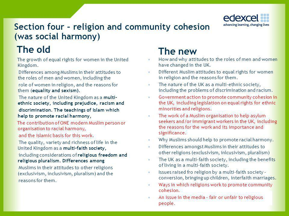 Section four – religion and community cohesion (was social harmony)