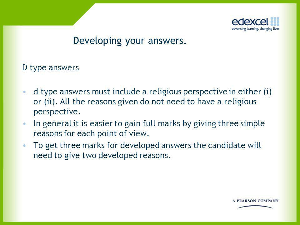 Developing your answers.