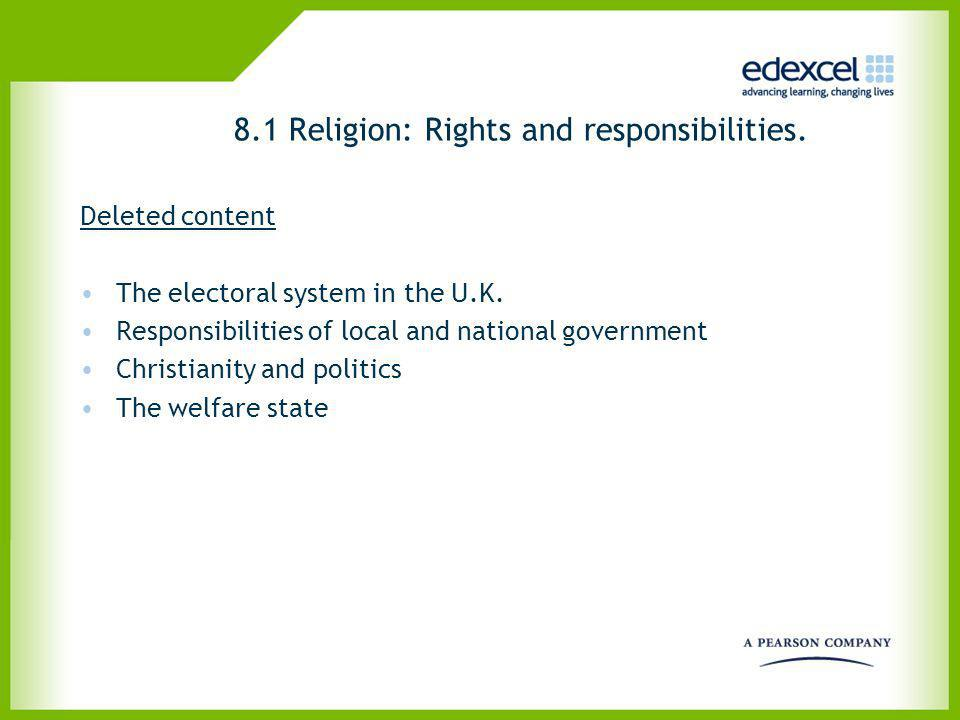 8.1 Religion: Rights and responsibilities.