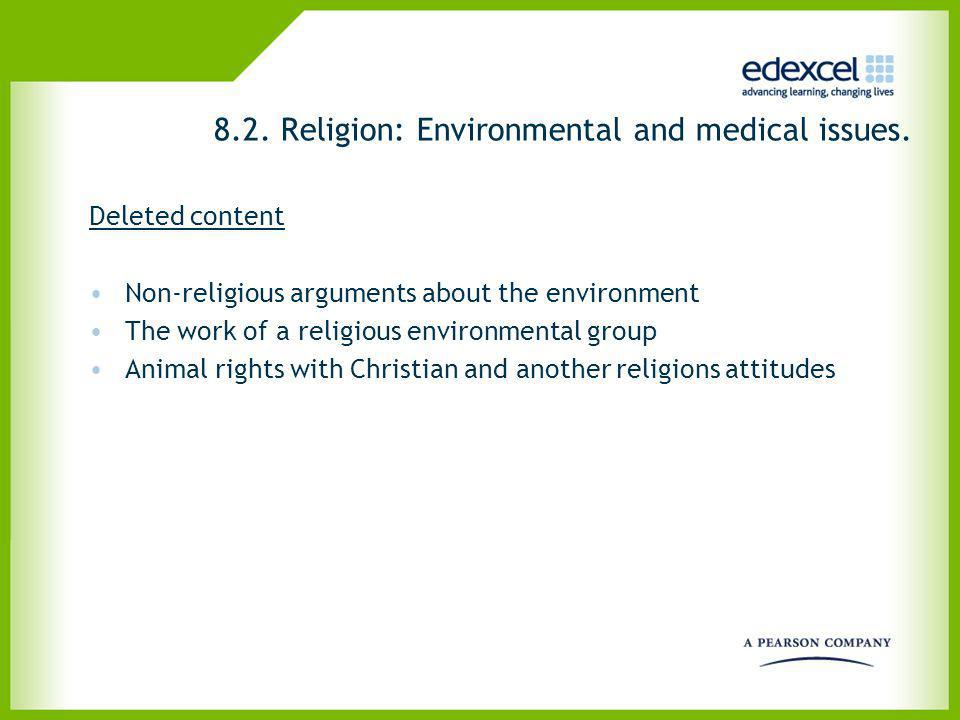 8.2. Religion: Environmental and medical issues.