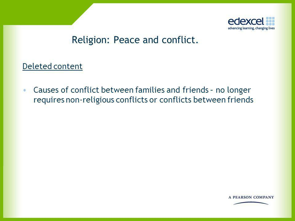 Religion: Peace and conflict.