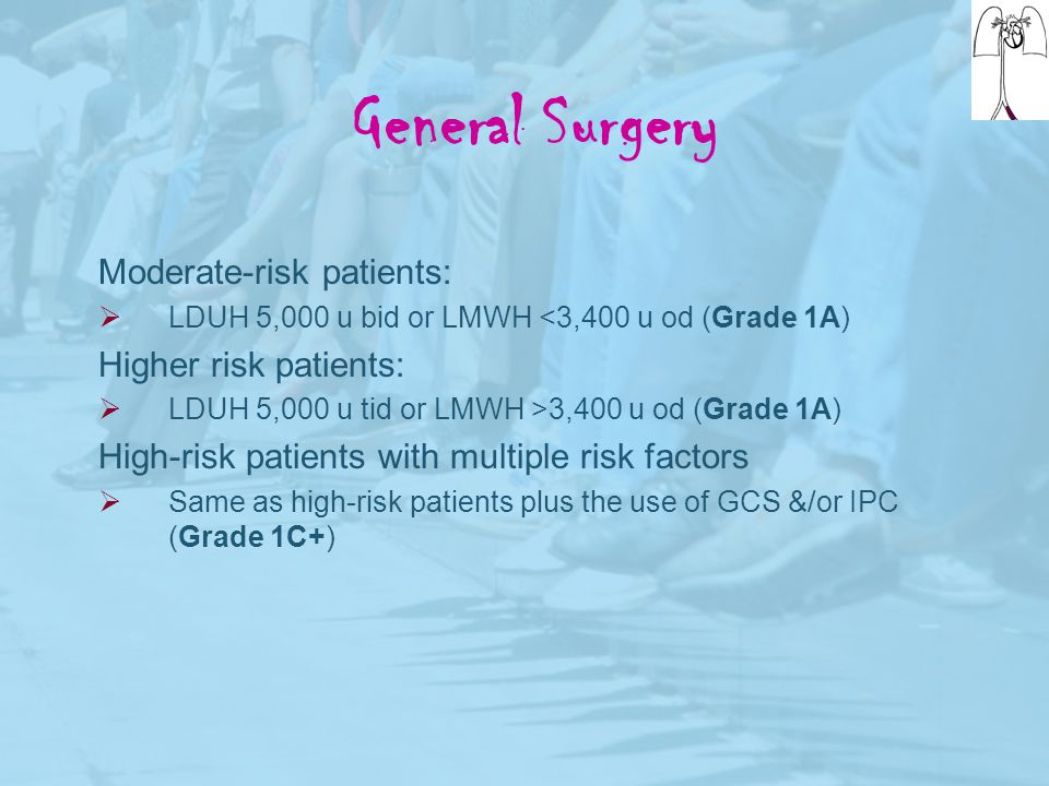 General Surgery Moderate-risk patients: Higher risk patients: