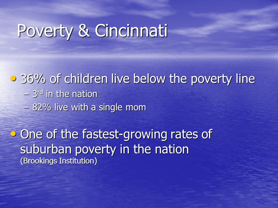 Poverty & Cincinnati 36% of children live below the poverty line