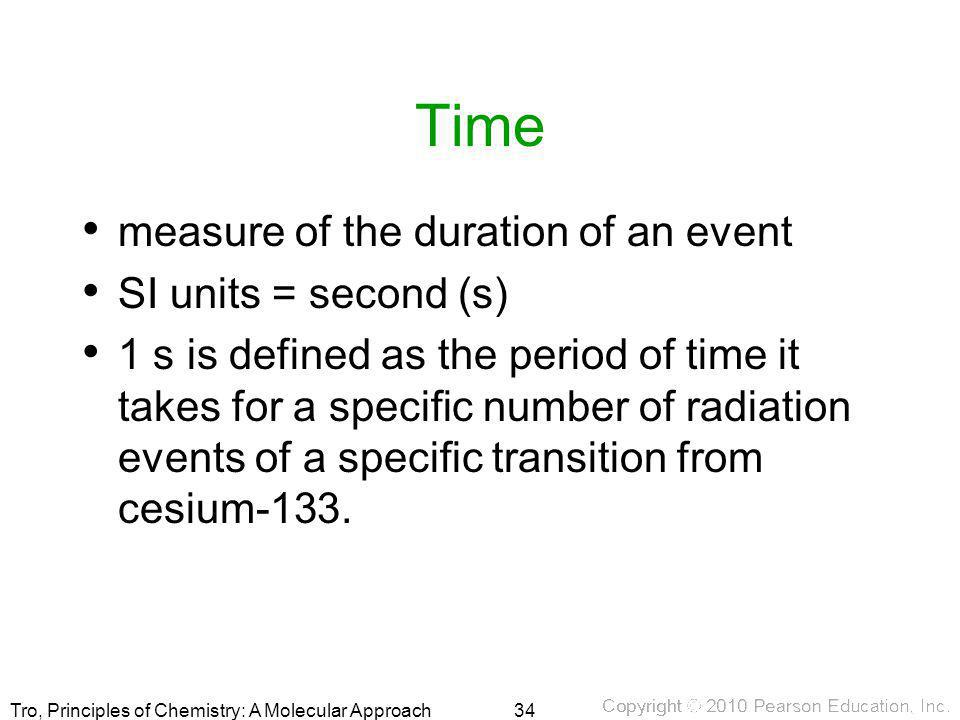 Time measure of the duration of an event SI units = second (s)