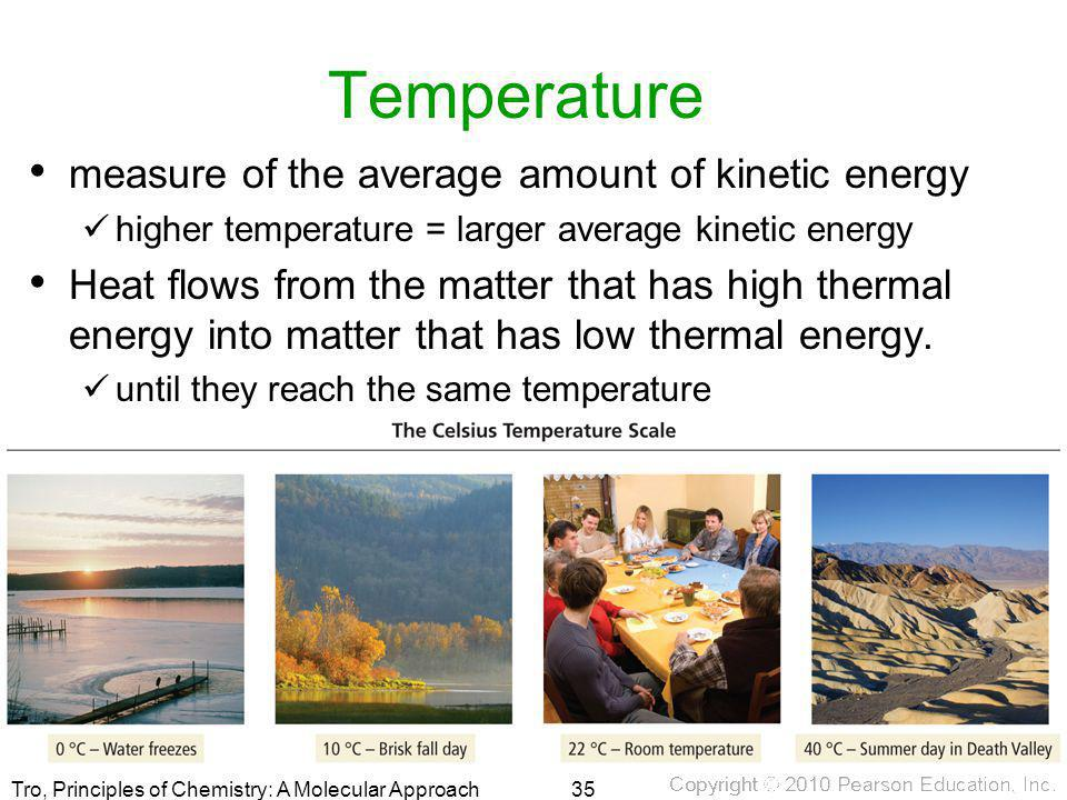 Temperature measure of the average amount of kinetic energy