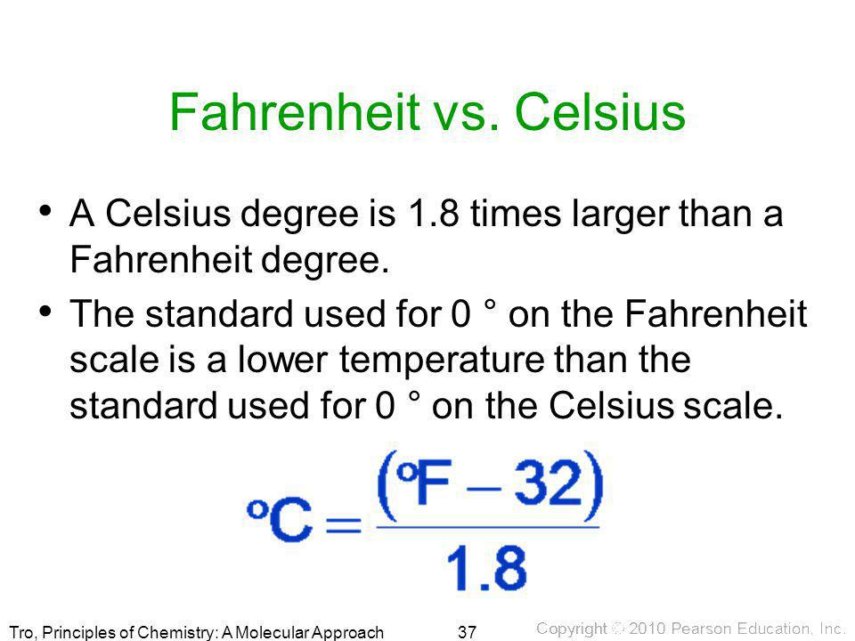 Fahrenheit vs. Celsius A Celsius degree is 1.8 times larger than a Fahrenheit degree.