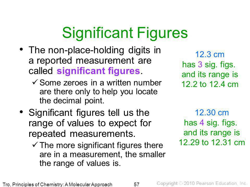 Significant Figures The non-place-holding digits in a reported measurement are called significant figures.