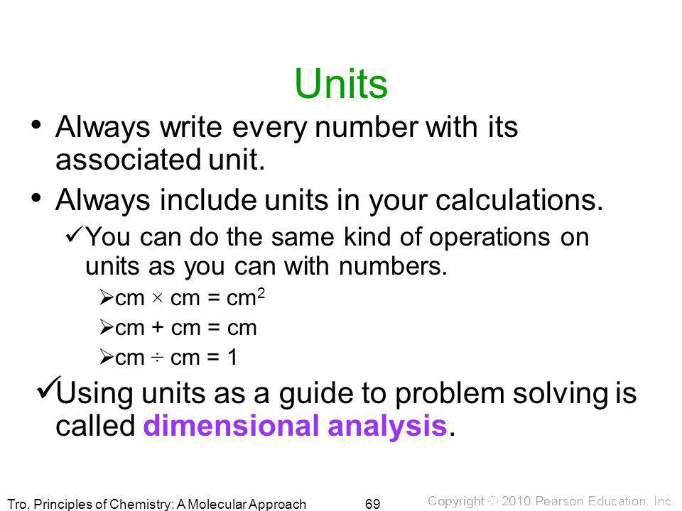 Units Always write every number with its associated unit.