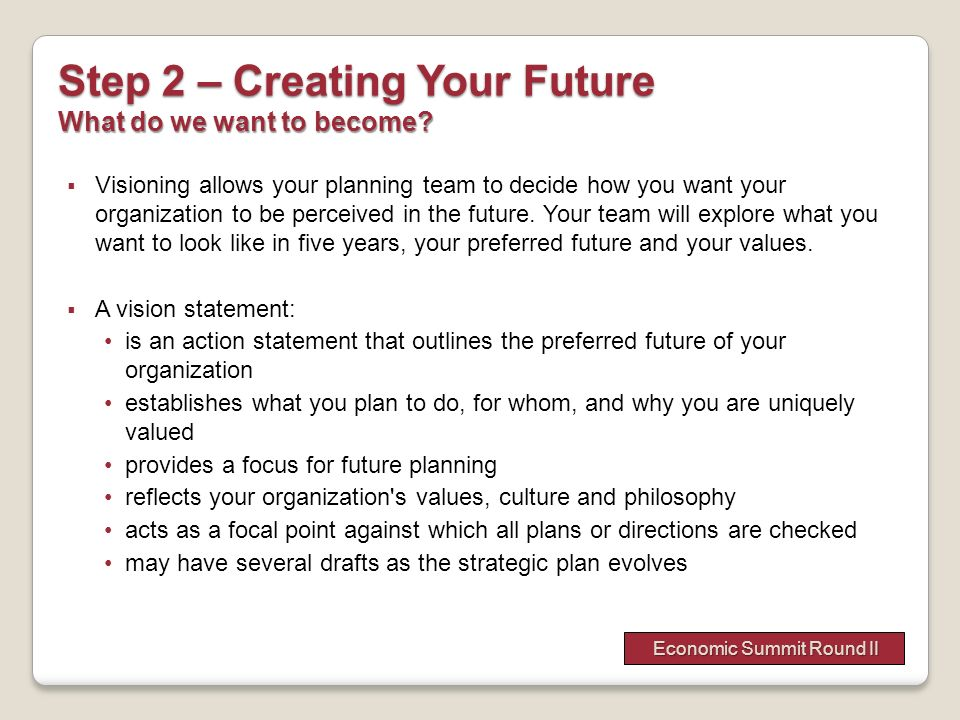 Step 2 – Creating Your Future What do we want to become
