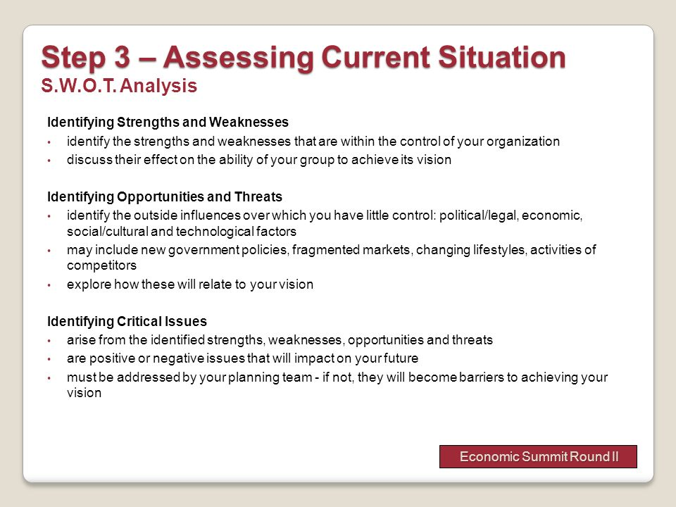 Step 3 – Assessing Current Situation S.W.O.T. Analysis