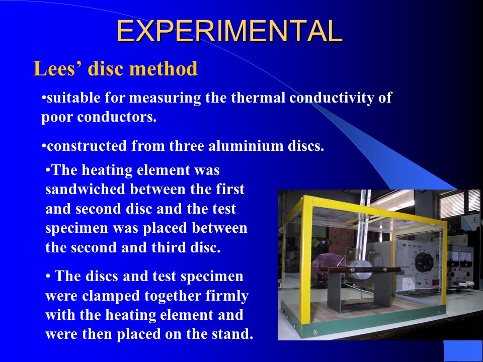 EXPERIMENTAL Lees' disc method