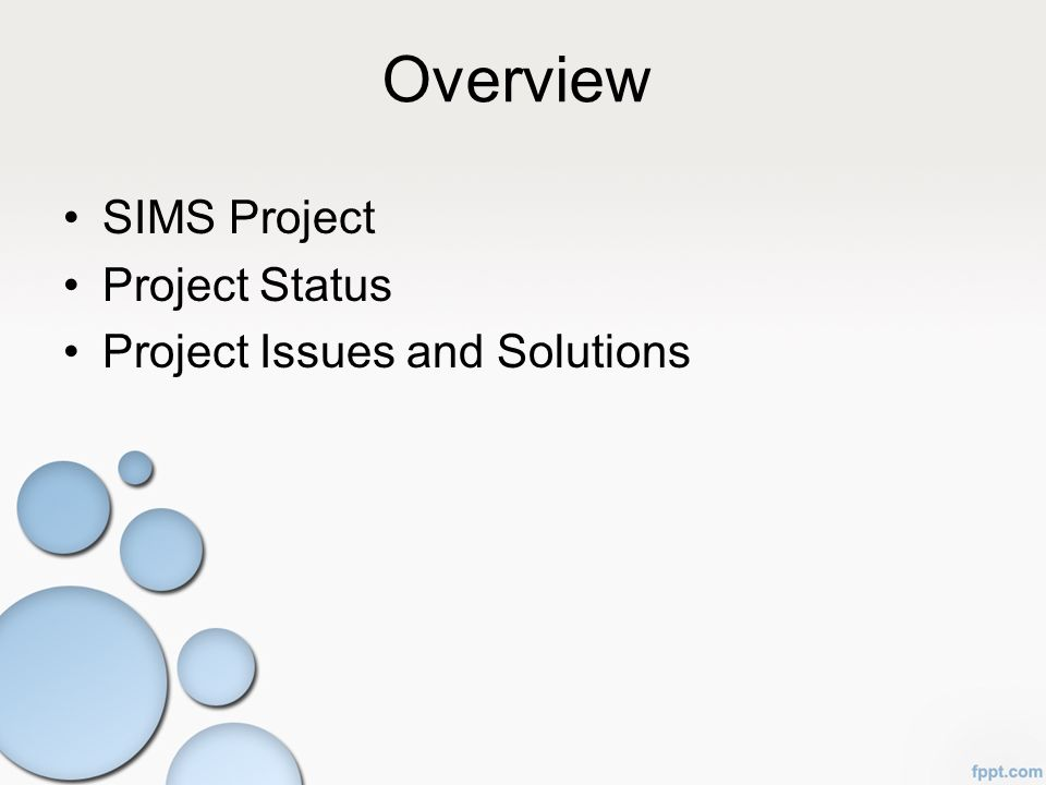 Overview SIMS Project Project Status Project Issues and Solutions