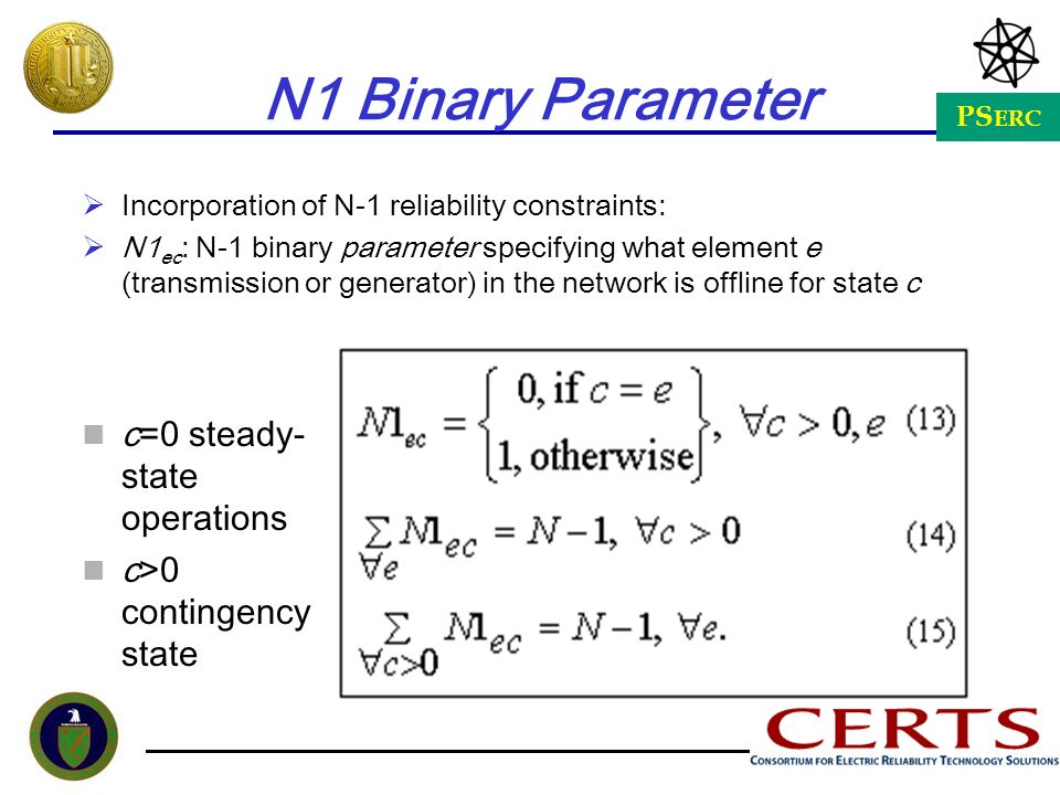 N1 Binary Parameter c=0 steady-state operations