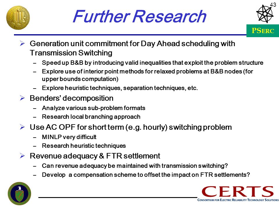 Further Research Generation unit commitment for Day Ahead scheduling with Transmission Switching.