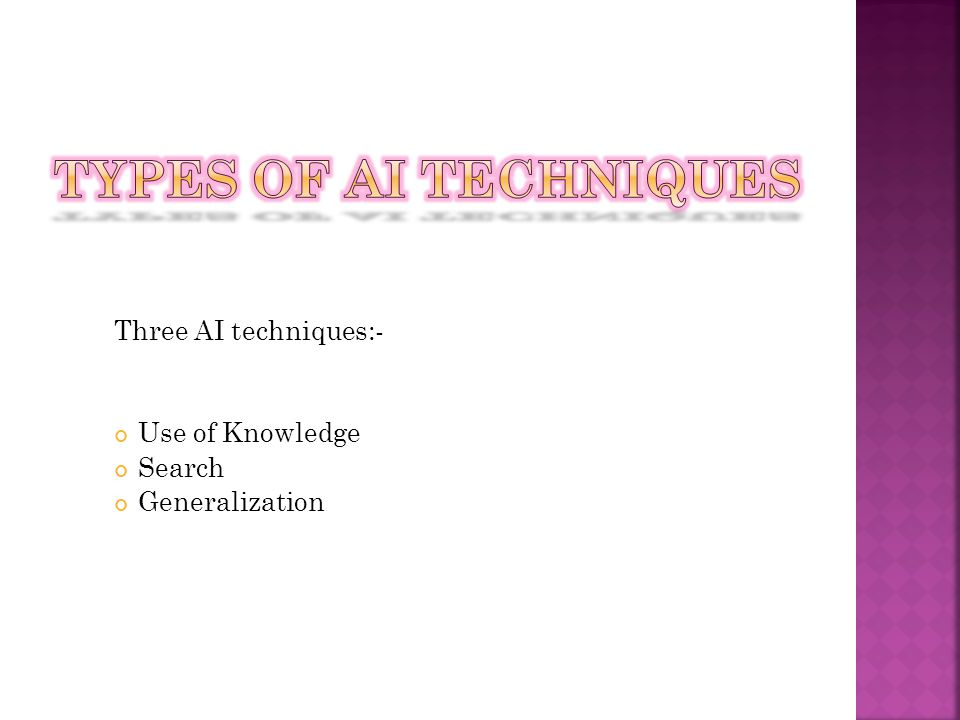 Types of AI Techniques Three AI techniques:- Use of Knowledge Search