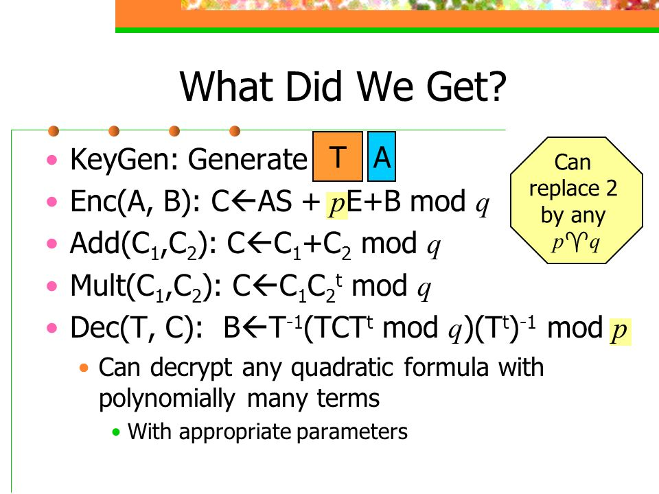 What Did We Get T A KeyGen: Generate Enc(A, B): CAS + pE+B mod q