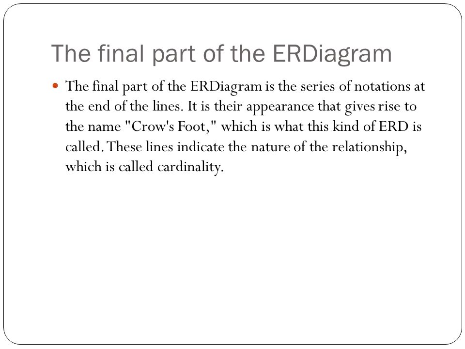 The final part of the ERDiagram