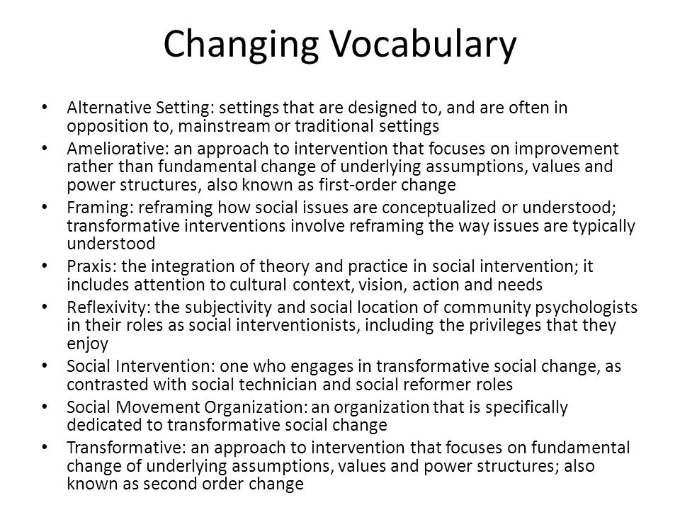Changing Vocabulary Alternative Setting: settings that are designed to, and are often in opposition to, mainstream or traditional settings.