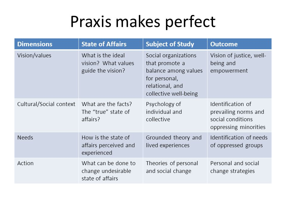 Praxis makes perfect Dimensions State of Affairs Subject of Study